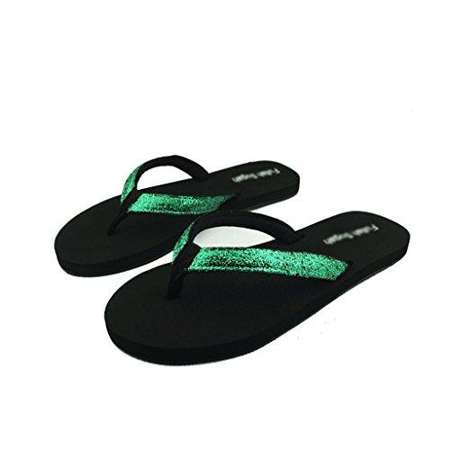 Chaussons Sandales et Pantoufles de Glissement de Mode d'été Femelle Plate Verte de Paillettes