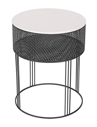 Table Basse/Table d'appoint Ronde en Fer forgé, Cadre de Table en métal antirouille, Meubles de décoration de Bureau au Salon de la Maison, Blanc (38 × 38 × 48 cm)