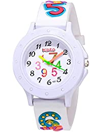 Kidzo Analogue Girls' Watch (White Dial White Colored Strap)
