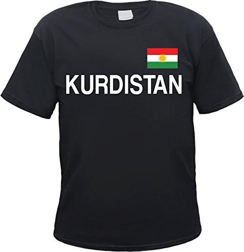 HB_Druck Kurdistan T-Shirt mit Flagge Schwarz S