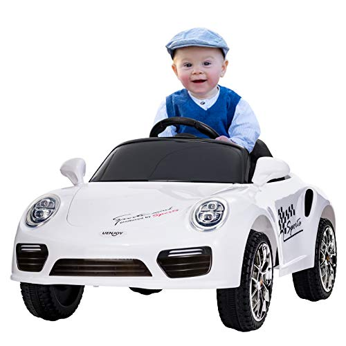 Uenjoy Kids Ride on Cars 6v Battery Power Kids Electric Vehicles with Wheels Suspension, Music,Remote Control,Headlights and Horn,White