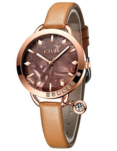 Civo orologio donna ultra sottile minimalista orologio da polso in pelle impermeabile elegante marrone per donna orologi al quarzo analogici moda affari abito casuali per donna signore ragazze
