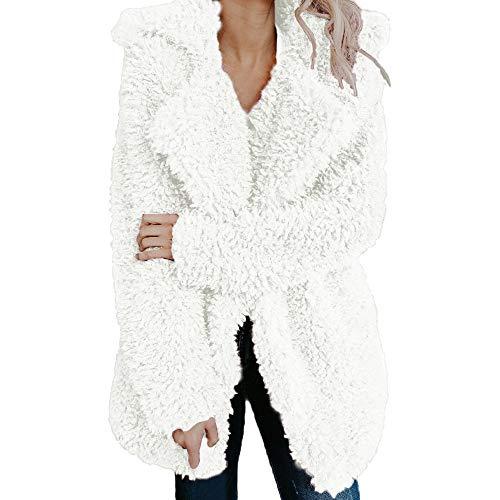 Riou Kapuzenjacke Damen Mäntel,Winter Warmer Hoodie Pullover lang Strickjacke Winterjacke Frauen Fleece Warme Künstliche Wollmantel Jacke Revers Winter Oberbekleidung (2XL, Weiß)