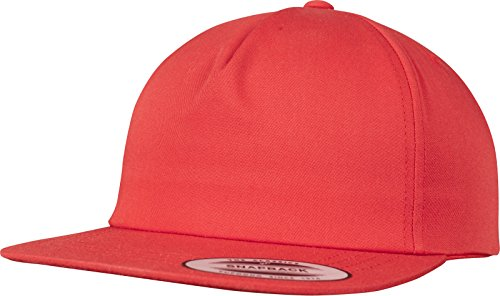 Red 5 Panels (Flexfit Unstructured 5-Panel Snapback Cap, Red, one Size)