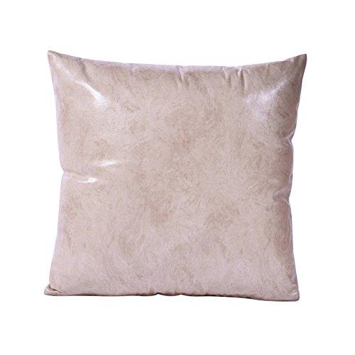 Quanjucheer ecopelle cuscino di tiro retro protezioni divano letto cuscino home auto decor, similpelle, creamy white, 45 cm x 45 cm
