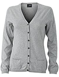 JAMES & NICHOLSON Ladie's high-quality cardigan with silk/cashmere content (L, light-grey-melange)