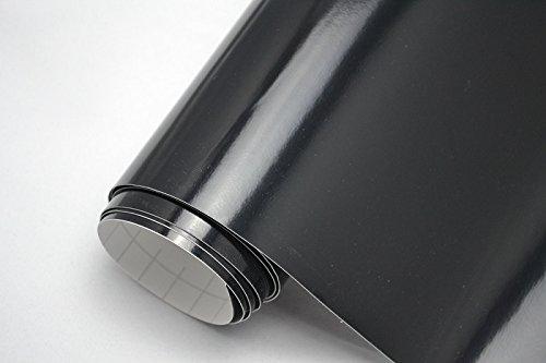 PREMIUM Auto Folie - GLÄNZEND SCHWARZ GLANZ 100 x 150 cm - blasenfrei mit Luftkanälen ca. 0,15mm dick Folierung folieren bekleben (Schwarze Folie)