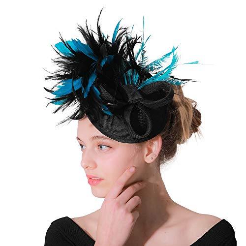 Fascinator Hut Feder Mesh Net Schleier Party Hut Jockey Club Kopfbedeckungen Derby Hut mit Clip und Haarband für Frauen Hut (Farbe : Blue Black, Größe : Free Size)