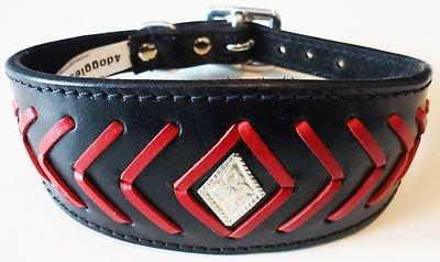 35,6-43,2 cm Noir/Rouge Poisson os motif Lévrier Whippet en cuir collier pour lévrier
