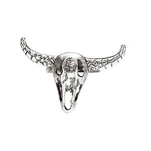 YSoutstripdu Vintage Einfacher Ring mit Kuhkopf, Totenkopf, für Damen und Herren, offen, Schmuck