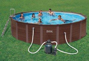 Bestway 56189GS Royal Frame Pool ø 549 cm, Holzoptik mit Sandfilterpumpe und ZubehörGröße: 549 x 122 cm