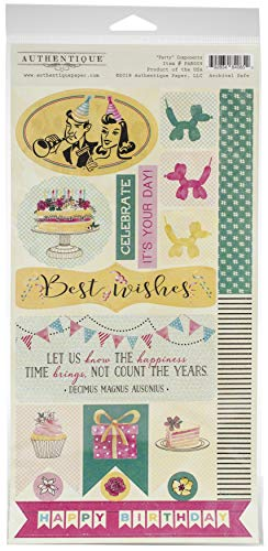 Paper Accents Cardstock (Authentique Paper Party Double-Sided Cardstock Die-Cut Sheet 6