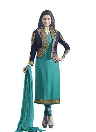 Missethnik Women's Georgette Salwar Suit Blue 901A