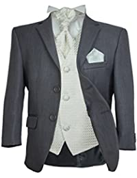 SIRRI Jungen 4 TEILE Formell Hochzeit Anzüge, Elfenbein Krawatte Abiball Seite Jungen Anzug