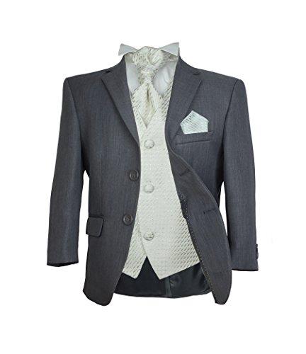 SIRRI Jungen 5 TEILE Formell Hochzeit Anzüge, Elfenbein Krawatte Abiball Seite Jungen Anzug - Grau & Creme, 158 (Anzüge Jungen Grau)