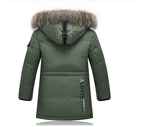 Ohmais Unisex Jungen Mädchen Winter Down Jacket verdickte Winterjacke Jungen Mantel verdickte Trenchcoat Jungen Outerwear mit Kapuzen Grün