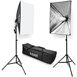 ESDDI Softbox Focos Fotografia, Kit Iluminacion Estudio Fotografia con 2 Lampara Fotografia 85W, 2 Ventana de Luz, 2 Tripode Iluminacion, 1 Bolsa Portatil