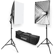 ESDDI Softbox, Focos Fotografia, Focos Iluminacion Fotografia con 2x Lampara 85w, 2x Ventana de Luz 50x70cm, 2x Tripode, 1x Bolsa Portatil