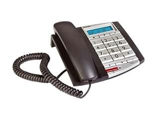 Topcom Fidelity 1081 Téléphone analogique filaire Ecran LCD Touches extra-larges Mains-libres Compatible appareil auditif Affichage numéro optique Anthracite