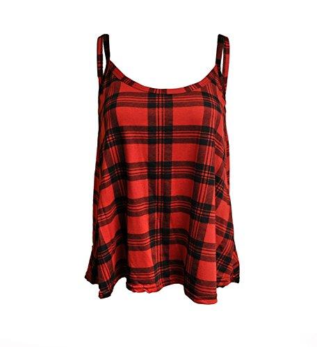 Generic - Débardeur - Femme - Motif écossais rouge