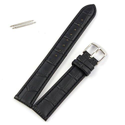 Vovotrade Qualitäts-weicher Schweißband Lederband Stahlschnalle-Armbanduhr-Band_Schwarz