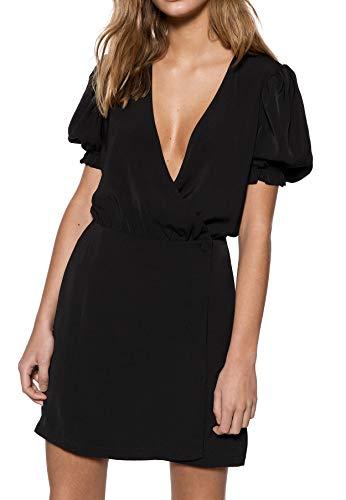 IVYREVEL Damen Puff Sleeve Overlap Dress Kleid, Schwarz (Black 001), (Herstellergröße:38) (Sleeve Wrap Puff)