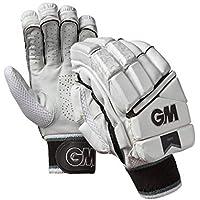 Gunn & Moore 909 - Guantes de bateo para Mano Derecha, Unisex Adulto, Color Blanco/Plateado/Negro, tamaño Large/Adult