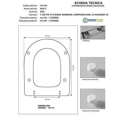 ACB/COLBAM Toilettensitz AXA 2 AXA Grau abgeschrägte Scharniere Lösbar Soft Close Chrom -