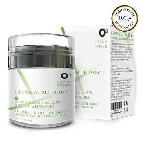 O³ Crema Viso Antirughe Uomo e Donna-Crema Retinolo Viso 2,5%-Retinol Cream 100% Naturale