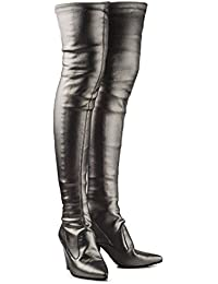 AllhqFashion Damen Niedriger Absatz Blend-Materialien Überknie Hohe Stiefel Stiefel, Silber, 34