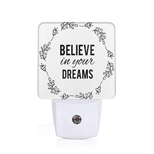 Vintage Frame With Monochrome Believe In Your Dreams Hand Drawn Laurel Plug-in LED Night Light Lamp with Dusk to Dawn Sensor, Night Home Decor Bed Lamp Vintage Laurel
