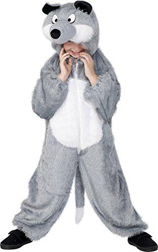 Smiffys Kinder Unisex Wolf Kostüm, Jumpsuit mit Kapuze, Größe: M, 30788