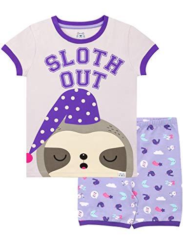 Faultier Schlafanzug Kurz Violett 128 ()