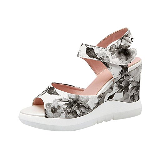 Mee Shoes Damen modern süß bequem Peep toe Slingback Keilabsatz Klettband Stoffdruck Plateau Sandalen Mehrfarbig(2)
