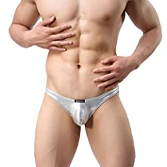 Idea Regalo - MuscleMate Hot Thong Uomo G-String Perizoma Sexy Uomo Thong T-Back, Low Rise Underwear (L, Argento)