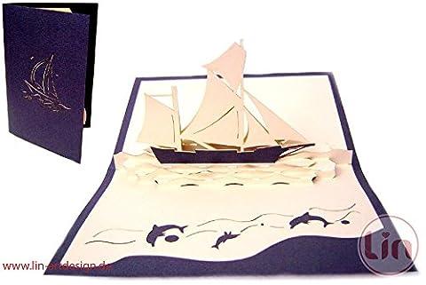 Lin de Pop up 3D Cartes de vœux Félicitations cartes cartes d'anniversaire bateau, voyage Bon d'achat Voilier