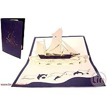 Tarjetas de felicitación Lin Pop Up 3d Tarjetas de felicitación cupones de viaje tarjetas de cumpleaños, diseño de barco velero