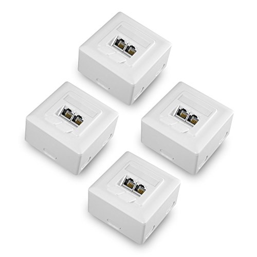 benon 4X Netzwerkdose universal CAT 6a geschirmt - vollständig geschirmt - RAL 9003 Signalweiß - Aufputz oder Unterputz - RJ45, 500MHz, 10Gbit