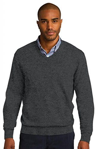 Hafenbehörde Men'komfortable Rib Knit Pullover mit V-Ausschnitt Grau - Charcoal Heather
