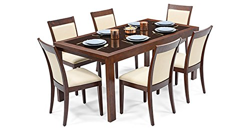 Urban Ladder Vanalen 6-to-8 Extendable - Dalla Six Seater Dining Table Set (Mahogany)