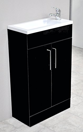 Zola High Gloss Black Square Basin Bathroom Furniture Cloakroom Compact Vanity Unit 500 X 250