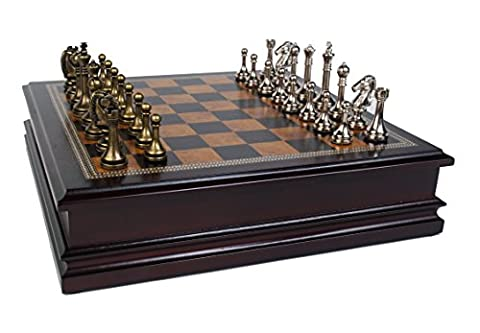 Metal Chess Set With Deluxe Wood Board and Storage -