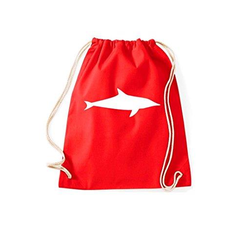 Turnbeutel Tiermotive Tierbilder Zoo Natur Fisch fish Delphin Gymsack Kultsack Rot