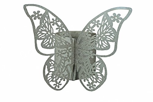 Elfenstall Servietten-Ringe in Farbe silber aus Papier für ihren festlichen Anlass 12 Stück