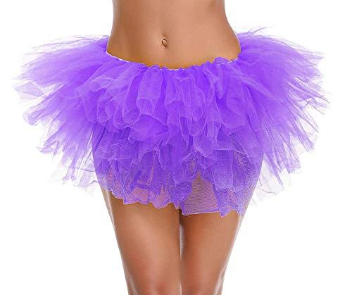 Ksnrang Damen Tüllrock Tütü Rock Tutu Röcke Schick Kleid Ballett Petticoat 50er Jahre Party zum Abend Kostüme Erwachsene Weihnachten Halloween (5 Schicht, Lila)