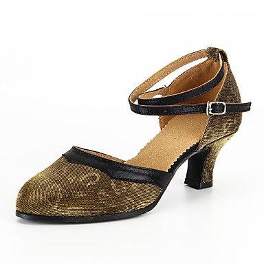 Scarpe da ballo-Personalizzabile-Da donna-Moderno-Tacco su misura-Brillantini-Blu / Giallo yellow