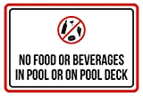CELYCASY Schild mit Aufschrift No Food Or Beverages in Pool Or On Pool Deck Whirlpool, 30,5 x 45,7 cm