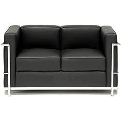National Office Furniture Supplies Le Corbusier inspiré Simili Cuir Noir Canapé 2Places, Imitation Cuir, Noir, Two Seater