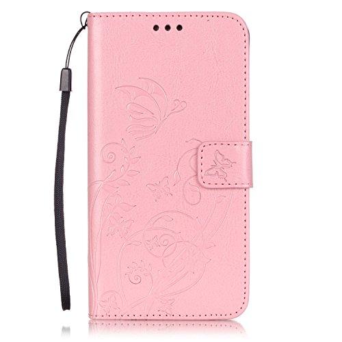 Prägen Blumen-Case, Magnetverschluss Synthetische PU-Leder-Kasten-Abdeckung mit hängenden Seil und Wallet-Funktion für Samsung ANMERKUNG 5 ( Color : Pink , Size : Samsung NOTE5 ) Pink