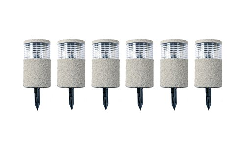 Buri 6X LED-Solarlampe Steinoptik 19x11cm Gartenlampe Dekolicht Wegeleuchte Erdspieß
